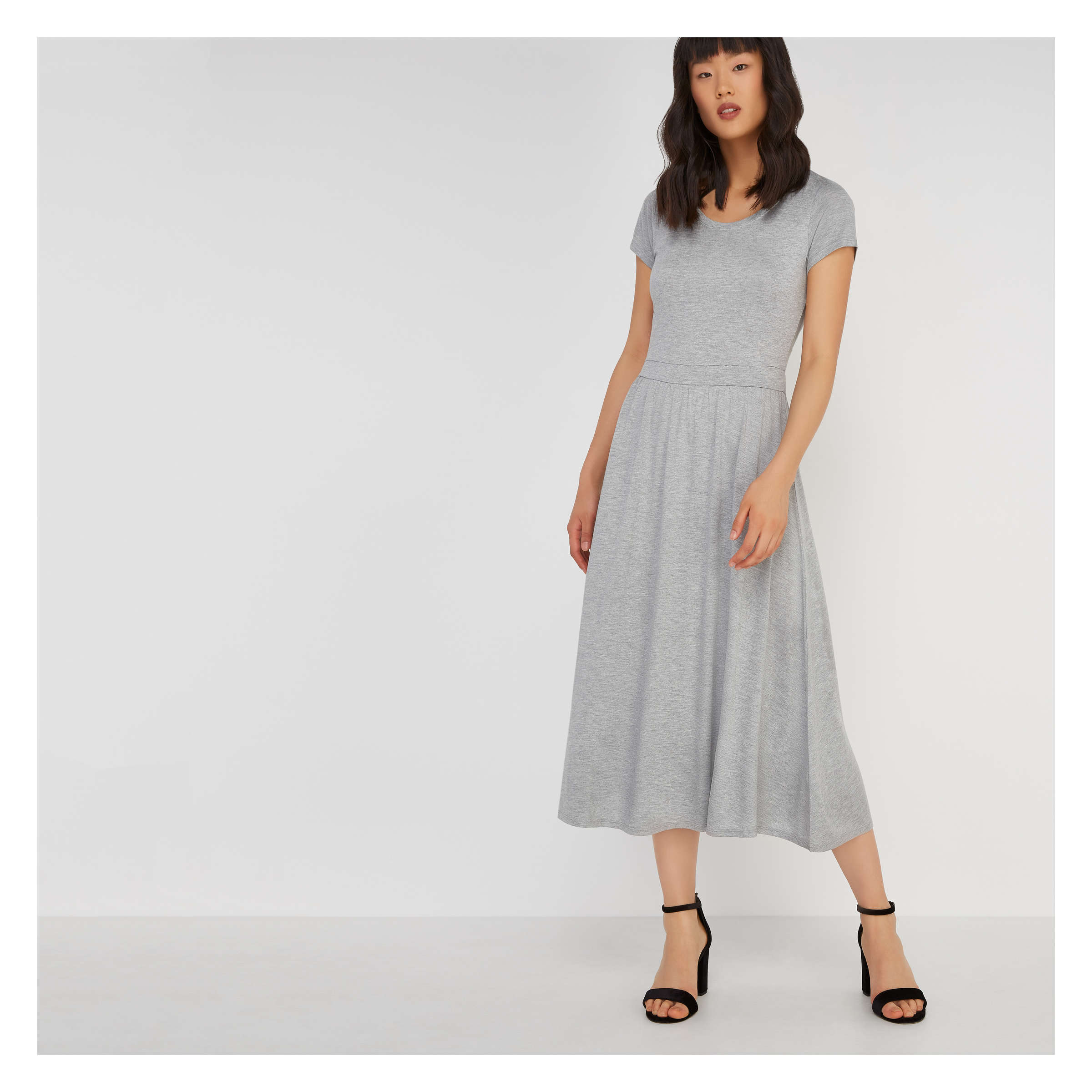 Short Sleeve Crew Neck Dress